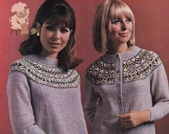 PDF Knitting Pattern - Ladies Broraspun Fair Isle Circular Yoked Jumper and Cardigan Twin Set - Instant Download