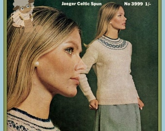 PDF Knitting Pattern Classic Jaeger Design Fair Isle/Nordic Circular Yoked Sweater  - Instant Download