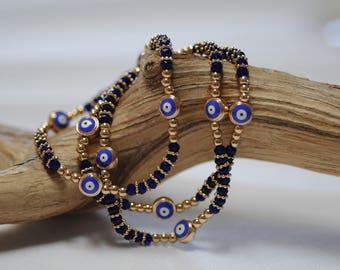 Evil Eye, Blue Evil Eye Bracelet, Blue enamel Evil Eye, Stretch Evil Eye Bracelet, Gift for her, Good luck charm, Gold and blue evil eye