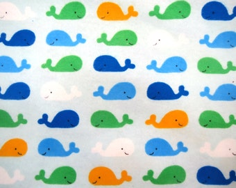 Clearance Flannel Fabric by the Yard in a Fun Baby Whale Print 1 Yard