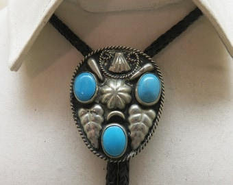Vintage Alpaca Metal and Turquoise Glass Bolo Tie