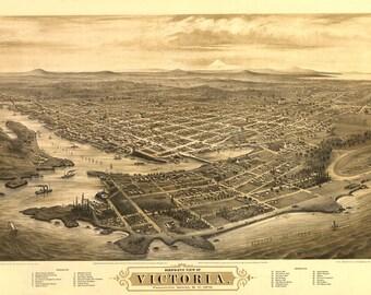 Vintage Map - Victoria, Vancouver Island, BC 1878