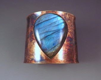 Blue Labradorite Teardrop- Rainbow Swirl Patina- Metal Statement Cuff Bracelet