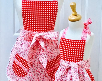 Reversible Mommy and Me Retro Apron Set Red and White Gingham and Little Flowers with a Mini Apron