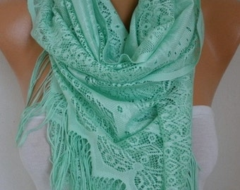 ON SALE --- Mint Tulle Scarf,Wedding Scarf ,easter,Cowl, BridesmaidGift, Bridal Scarf, Gift Ideas for Her, Women Fashion Accessories