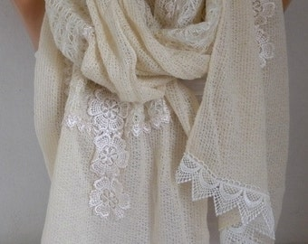 Ivory Knitted Lace Scarf, Wedding Shawl,Winter Shawl,Christmas Gift,Cowl Bridesmaid Gift Bridal Gift Ideas For Her Women Fashion Accessories