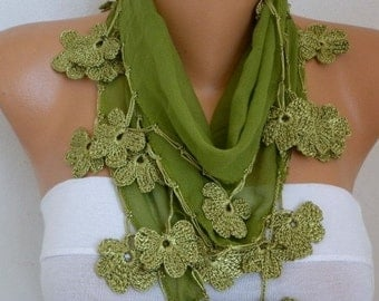 ON SALE --- Grass Green Cotton Floral Scarf, Summer Scarf, Cowl Scarf, Necklace, Bridesmaid Gift, Wedding, Gift Ideas For Her, Women Fashion