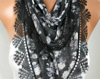 ON SALE --- Black Floral comb Cotton Scarf, Necklace, Cowl with  Lace Edge,Valentine's day gift,gift ideas for her,women scarves