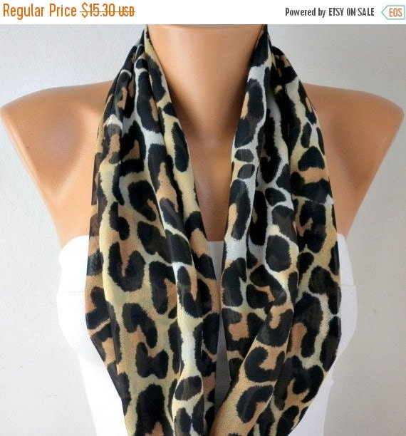 ON SALE --- Leopard Print Infinity Scarf,  Shawl Circle Scarf Loop Scarf Gift For Her, Women's Fashion Accessories, best selling item