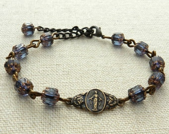 Rosary Bracelet - Czech Glass Bead - Blue, Plum, Black, Brown, Aqua -  Made in USA