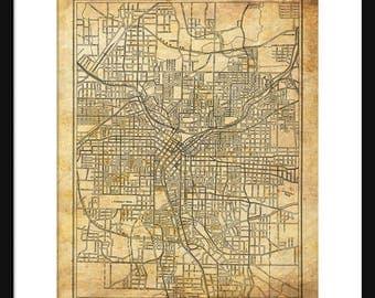 1927 Atlanta Street Map Vintage Print Poster Grunge