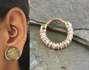Rose Gold Daith Piercing Rook Earring Hoop Rose Gold Clicker