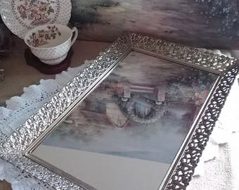 Filigree Mirrored Dresser Tray, Rectangular Gold Metal Dresser Tray, Vintage Dresser Tray, Perfume Tray, Wedding Decor