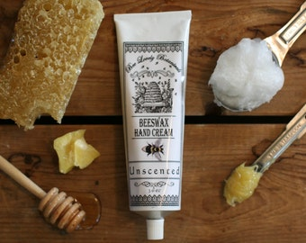 Unscented Beeswax Hand Cream || Unscented Organic Hand Lotion || Probiotic Beeswax Hand Cream