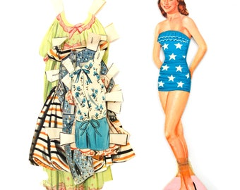 "Vintage Paper Doll ""Peggy"" with Clothing, 6 pieces (c.1940s) - Doll Ephemera, Collectible Doll, Paper Projects"