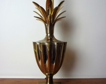 Brass pineapple lamp.  Hollywood Regency style.  Brass footed urn pineapple trophy lamp.