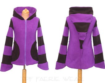 Zip up double layer moda length Arabelle hoodie. 6 stripe Positively Pixie Hood/ 6 stripe Sidhe Sleeves