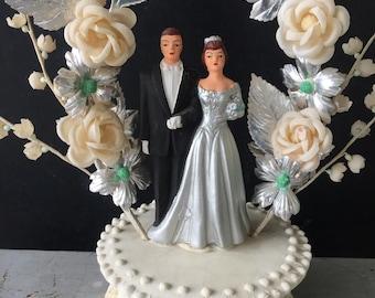 Vintage Wedding Cake Topper- Retro Wedding Decoration-1960s