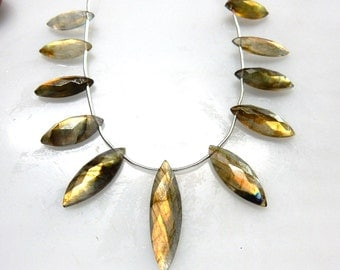 Labradorite Marquise Beads 8 ''  AA Quality  Size 7x17MM To 9x30MM Approx 11 Beads Wholesale Price