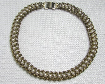 Vintage Caged Faux Pearl Choker in Silver Gold Toned Metal