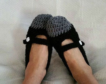 Crochet Mary Jane Slipper Womens PDF Pattern Only