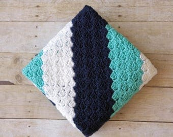 READY TO SHIP - Crochet Baby Blanket, Striped Baby Blanket, Navy Baby Blanket, Turquoise Baby Blanket, Large Baby Blanket, Soft Baby Blanket