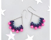 Neon Pink Purple Swarovski Crescent Drop Earrings with Sterling Silver / Half Circle Crystal Drop Earrings / Semi Circle Earrings