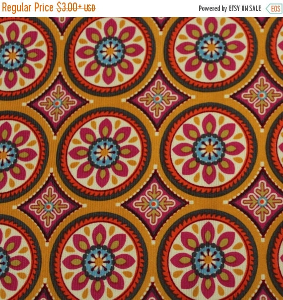 Corduroy Fabric Multi Color Tossed Medallion Flowers on Golden Orange By Brother Sister Studios Lightweight 100% Cotton Quilt Apparel Craft