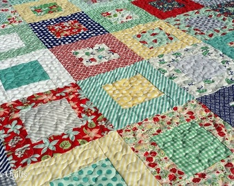 Modern Patchwork Lap Quilt - Large Baby Quilt, Large Toddler Girl Quilt, Modern Quilt - Ready to Ship