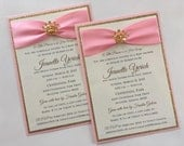 Pink and Gold Princess Baby Shower Invitation with Gold Sparkling Tiara -- Private Listing