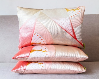 """Pink Silver Pillow in Ombre Silk, Peacock DECO Vibrant Accent Cushion, Upcycled Japanese Kimono, 12""""x18"""" Rectangular Ltd Ed ECO Upcycled 30s"""
