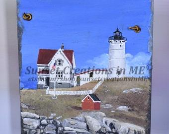 Nubble Lighthouse, Lighthouse Art, Lighthouse Decor, Lighthouse Painting, Maine Lighthouse, Beach Decor, Nubble, Acrylic Painting, Maine Art