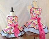 Mommy & Me Cupcake Aprons, Pinup Apron, Bakers Apron, Ready To Ship, Woman's Apron, Child's Apron