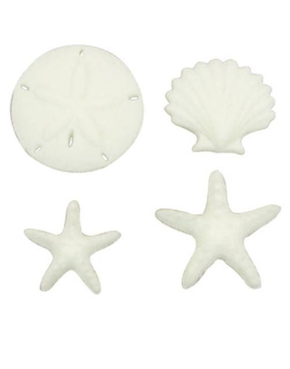 Beachcomber Assortment Sand Dollar Star fish Sea Shell Sugar Decorations Toppers Cupcake Cake Cookies Birthday Favors Party 12 Count