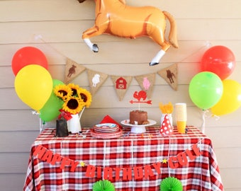 Barnyard Birthday Banner | Barnyard Party Decoration | Farm Animal Birthday Party Banner