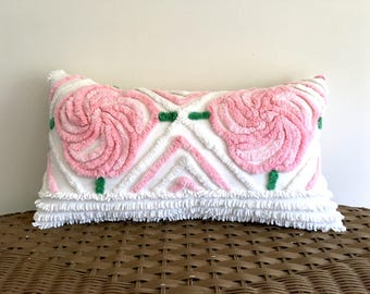 pink pillow cover PINK PEONIES 10 X 18 vintage chenille floral pink cushion cover, cottage chic shabby style, plush pink pillow sham