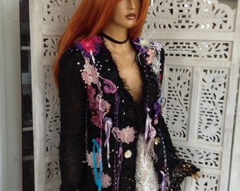jacket black embroidered dreamy cardigan wearable art collage laces fashion design sweater romantic  night for dinner jacket by golden yarn