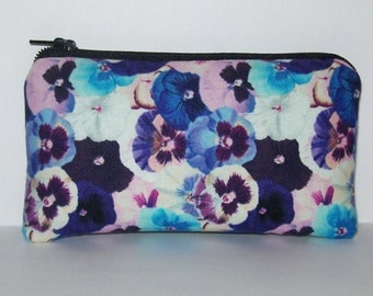 """Pipe Pouch, Pansy Floral Bag, Pipe Case, Pipe Bag, Padded Pipe Pouch, Flowers Bag, Hippie Gift, Padded Zipper Bag, Small Pouch - 5.5"""" SMALL"""