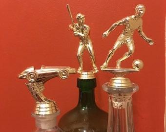 Vintage trophy bottle cork old trophy retro trophy topper soccer award athletic decor stopper liquor bottle trophy handmade decanter stop