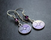 Labyrinth Earrings. Chartres. Everyday Meditation Earrings. Amethyst Swarovski Crystals.