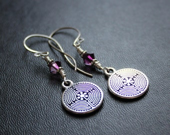 Labyrinth Earrings. Chartres. Everyday Meditation Earrings. Amethyst Swarovski Crystals.