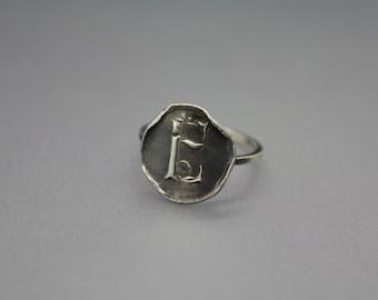 silver ring - wax seal ring - wax seal jewelry - silver wax seal - letter seal - silver wax seal - initial ring - initial jewelry - signet