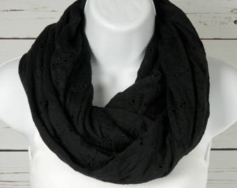 Black Infinity Scarf / Black Jersey Knit Scarf / Embroidered Eyelet Lace Design / Eyelet Lace Infinity Scarf / Handmade by Thimbledoodle