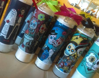 Bulk Order, 10pcs Dia de los Muertos wedding candles, glittered Day of the Dead, prayer candles