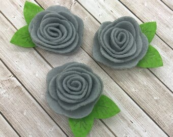 "2"" felt rosette with leaf, GRAY, grey, felt rose flower, small felt flowers, DIY headband supplies, petite fabric flowers wholesale flowers"