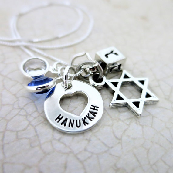Hanukkah Charm Necklace - Sterling Silver Hanukkah Jewelry - Jewish Jewelry - Chanukah Jewelry - Chanukah Necklace - Sterling Silver