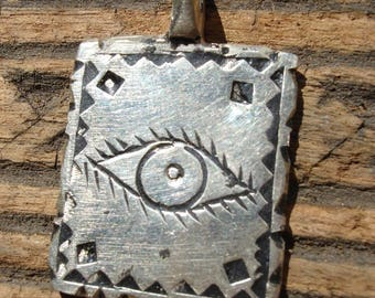 Moroccan double sided silver colour shiny hand engraved square pendant with eye