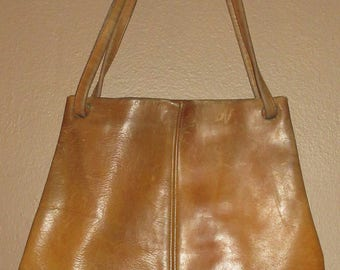 Vintage Distressed Brown Leather Davey's Tote