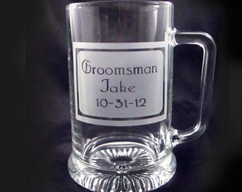 Custom Etched Beer Mugs, Personalized Beer Mugs, Bridal Party Gifts, Father of the Groom Gift, Groomsmens Gift, Personalized Wedding