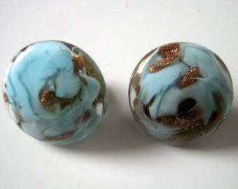 Vintage Blue Gold Glass Button Clip On Earrings, Made in Italy